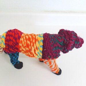 Indian Vibrant Recycled Chindi Rope Standing Tiger